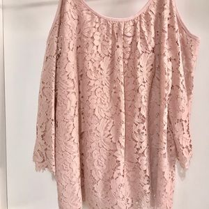 Layered Lace Blouse in Dusty Rose from WHBM Medium